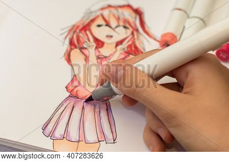 Hand Drawing A Cute Girl Anime Style Sketch With Alcohol Based Sketch Drawing Markers.