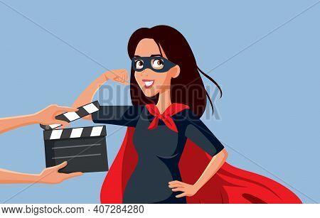 Actress Filming A Female Superhero Blockbuster Movie