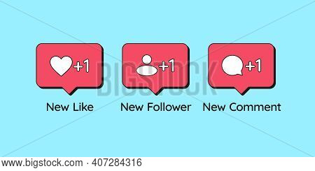 Social Media Bubbles With Icon Like, Follower, Comment. Notification Counter Of New Likes, Followers
