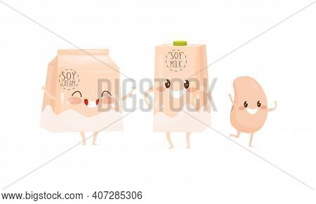 Cute Humanized Soy Food With Carton Of Soy Milk And Bean Smiling And Waving Hands Vector Set