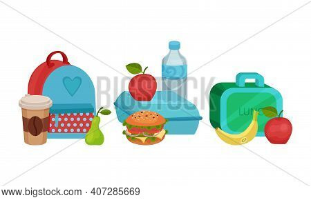 School Lunch Bags And Lunchbox With Hamburger, Apple Fruit And Drink Vector Set