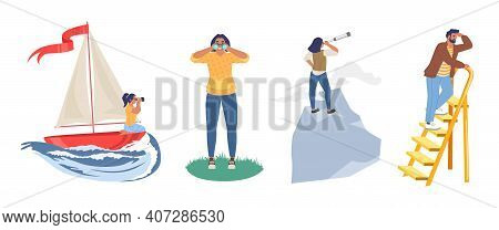 People Looking To The Future, Flat Vector Illustration. Future Vision, Business Career, Leadership.