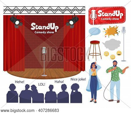 Stand Up Comedy Show Stage, Comedian Cartoon Characters With Microphones, Audience Flat Vector Illus