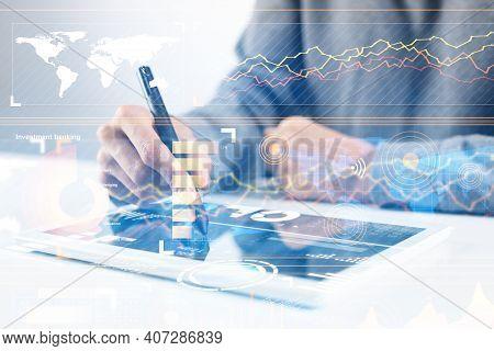 Businessman Hands Using Tablet Computer. Digital Marketing Media Or Financial Diagrams In Virtual Sc