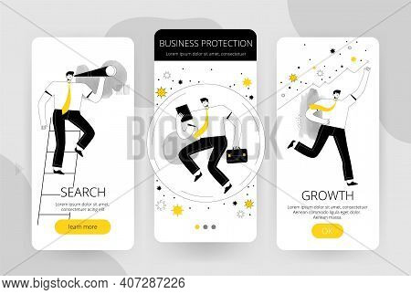 Set Of Screens For The User Interface Of The Mobile Application. The Businessman Confronts The Coron