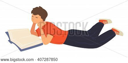 Teenage Boy Laying And Reading Book For Fun Vector