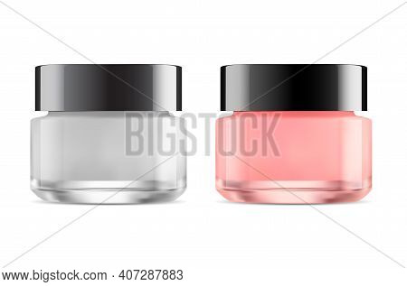 Cosmetic Jar. Glass Face Cream Bottle Mockup, Skin Care Package. Transparent Cosmetic Product Contai