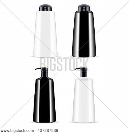 Cosmetic Product Bottle. Shampoo, Lotion Container Vector Blank. Realistic Plastic Bottles Set With