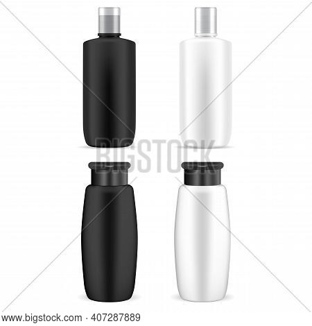Cosmetic Bottle Mockup. Plastic Shampoo Jar Vector Blank. Beauty Product Package Isolated On White B