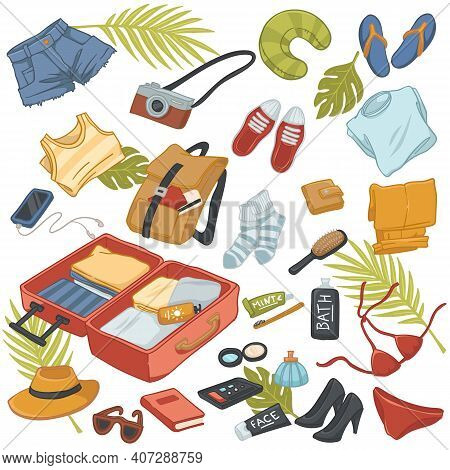 Summer Traveling And Voyage Belongings Kit And Bag