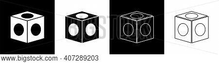 Set Billiard Chalk Icon Isolated On Black And White Background. Chalk Block For Billiard Cue. Vector