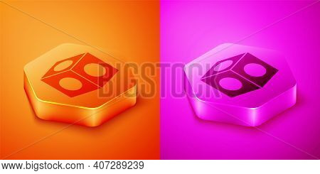Isometric Billiard Chalk Icon Isolated On Orange And Pink Background. Chalk Block For Billiard Cue.