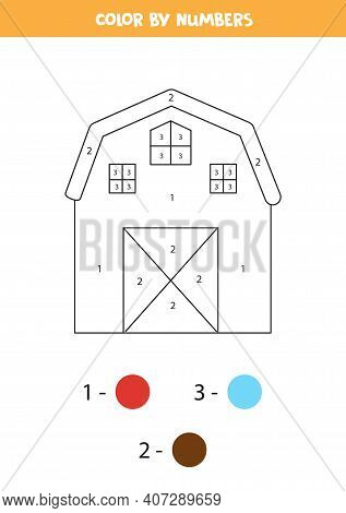 Color Farmhouse By Numbers. Farm Animal Worksheet.
