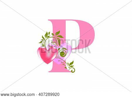 Floral Alphabet, Letter P With Two Hearts. Monogram Initials For Wedding Invitations, Greeting Card