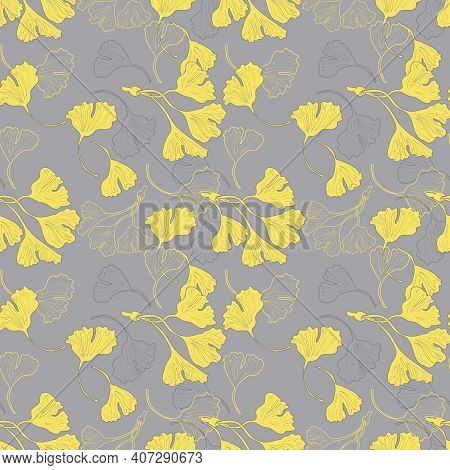 Gingko Biloba Seamless Pattern Background Yellow Grey