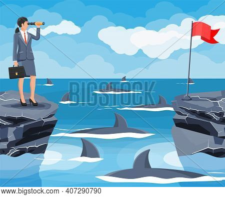 Businesswoman With Spyglass On Tiny Island In Sea And Surrounded By Sharks. Obstacle On Work, Financ