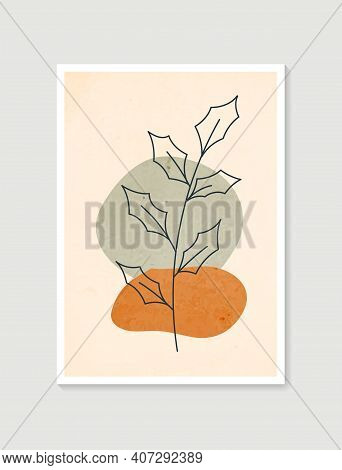 Contemporary Art Posters In Pastel Colors. Botanical Wall Art Vector. Minimal And Natural Wall Art.