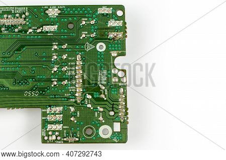 Components Of Microprocessor Devices Are Installed On A Printed Circuit Board