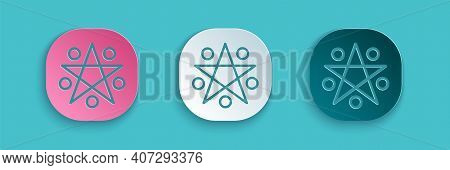 Paper Cut Pentagram In A Circle Icon Isolated On Blue Background. Magic Occult Star Symbol. Paper Ar