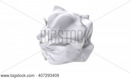 Crumpled Paper Ball Isolated On White Background With Clipping Path.