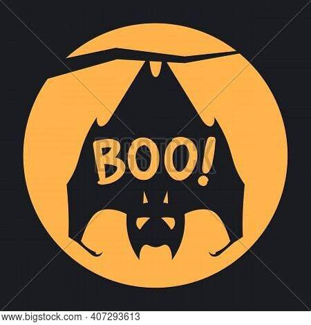 Boo Halloween Design With Full Moon And Bat Hanging On A Branch. Simple Vector Illustration In Flat