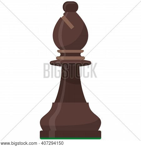 Bishop Playing Chess Piece Isolated Flat Vector Icon