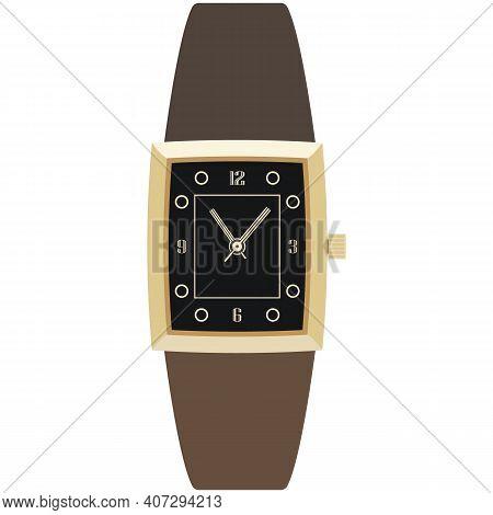 Luxury Quartz Wrist Watch Vector Isolated On White