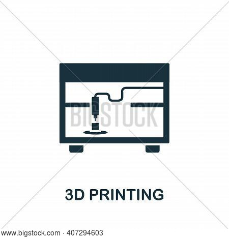 3d Printing Icon. Simple Element From Technology Collection. Filled Monochrome 3d Printing Icon For