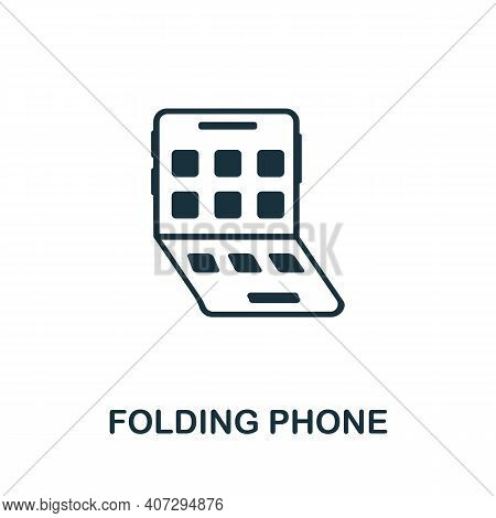 Folding Phone Icon. Simple Element From Technology Collection. Filled Monochrome Folding Phone Icon