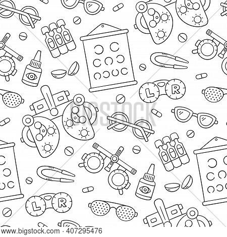 Ophthalmology Hand Drawn Seamless Pattern. Contact Lens, Glasses, Phoropter And More. Optometry Dood