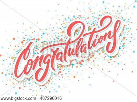 Congratulations. Vector Handwritten Lettering Greeting Card. Vector Illustration.