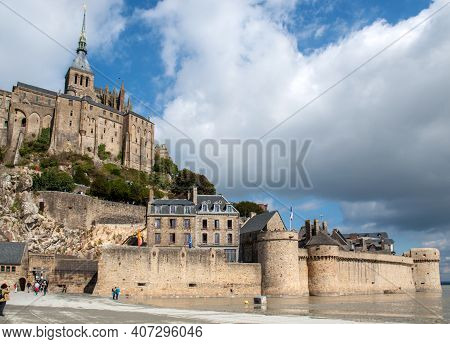 Le Mont-saint-michel, France - September 13, 2018: Le Mont Saint-michel, Medieval Fortified Abbey An