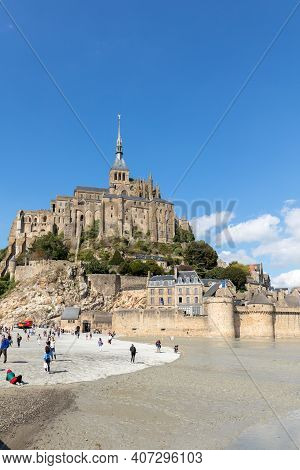 Le Mont-saint-michel, France - September 13, 2018: Mont-saint-michel, Island With The Famous Abbey,