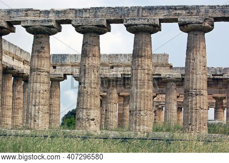Remains Of The Ruined Ancient Greek Agora At Paestum In Campania, Italy