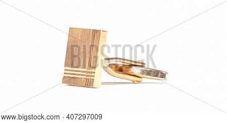 Old Gilded Cufflink, Isolated On White Background