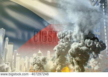 Big Smoke Column With Fire In Abstract City - Concept Of Industrial Explosion Or Terroristic Act On