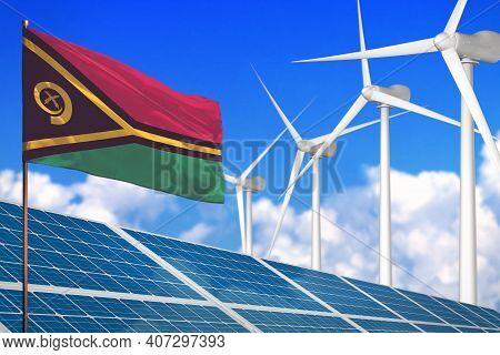 Vanuatu Solar And Wind Energy, Renewable Energy Concept With Windmills - Renewable Energy Against Gl