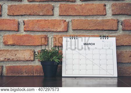 2021 Calendar Desk Place On Table. Desktop Calender For Planner To Plan Agenda, Timetable, Appointme