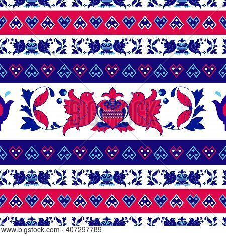 A Vector Seamless Folk, Etno, Vintage Pattern With The Ornamental Decoration With Colorful Flowers,