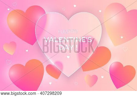 Happy Valentine's Day Greeting Banner. Glass-morphism Background With Bright Hearts And Frosted Tran