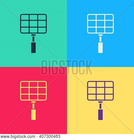 Color Barbecue Steel Grid Icon Isolated On White Background. Top View Of Bbq Grill. Wire Rack For Bb