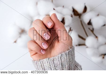 Woman Hands With Beautiful Nude Manicure Holding Delicate White Cotton Flower. Female Manicure, Natu