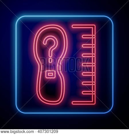 Glowing Neon Square Measure Foot Size Icon Isolated On Black Background. Shoe Size, Bare Foot Measur