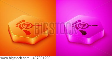 Isometric Magnifying Glass With Footsteps Icon Isolated On Orange And Pink Background. Detective Is