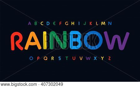 Awesome Rainbow Color Alphabet. Rounded Stunning Font, Minimalist Type For Modern Bright Logo, Headl