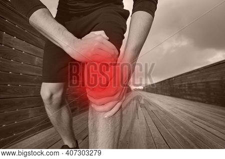 Runner Suffering From Knee Injury And Pain. Meniscus Injury, Dislocated Knee, Tendonitis