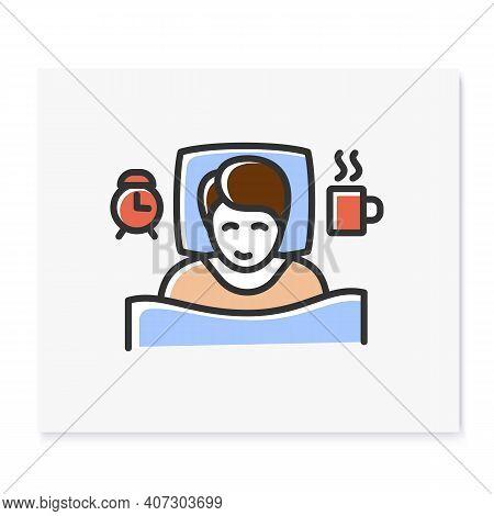 Wake Schedule Changes Color Icon. Difficulty Falling Asleep. Insomnia. Sleep Disorder. Healthy Sleep