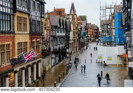 Chester; Uk: Jan 29, 2021: A General View In The Shopping District Of Chester Seen On A January Frid