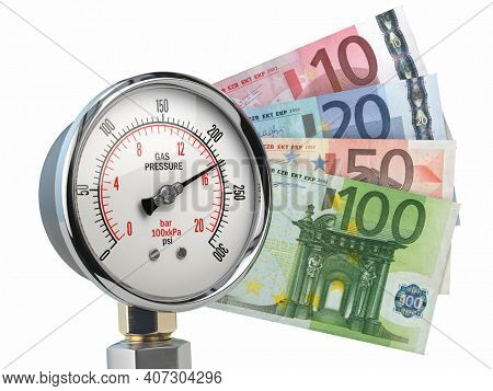 Gas pression gauge meter with euro banknotes. Gas price and heating costs payment concept. 3d illustration