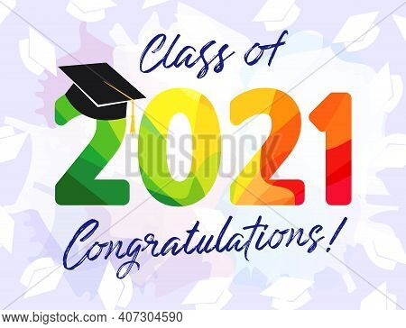 Class Of 2021 Year Graduation Banner. Class Off Happy Holiday Invitation Card. Stained Glass 3d Digi
